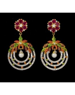 Designer Wear Indian CZ Earrings - 91464