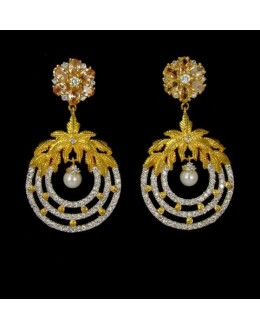 Party Wear Indian CZ Earrings - 91466
