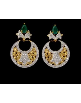 Party Wear Indian CZ Earrings - 91479