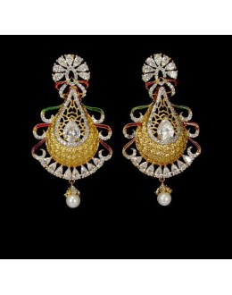 Festival Wear Indian CZ Jhumka - 91491