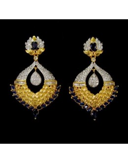 Party Wear Indian CZ Earrings - 91504