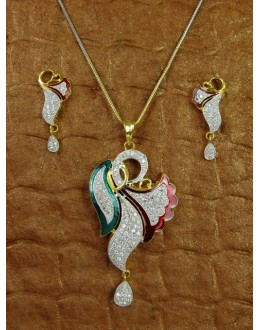 Designer Diamond Pendant With Earrings - 84796