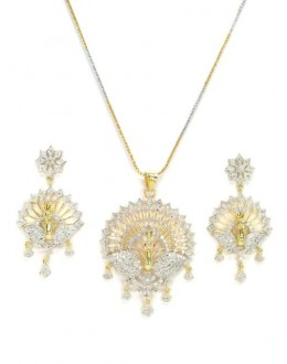 Designer Diamond Pendant With Earrings - 86374