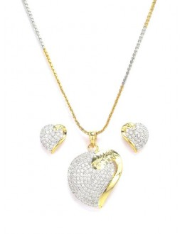 Designer Diamond Pendant With Earrings - 87309