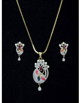 Designer Diamond Pendant With Earrings - 87590
