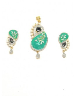 Designer Diamond Pendant With Earrings - 87645