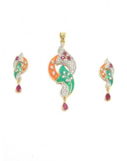 Designer Diamond Pendant With Earrings - 87654