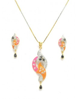 Designer Diamond Pendant With Earrings - 87657