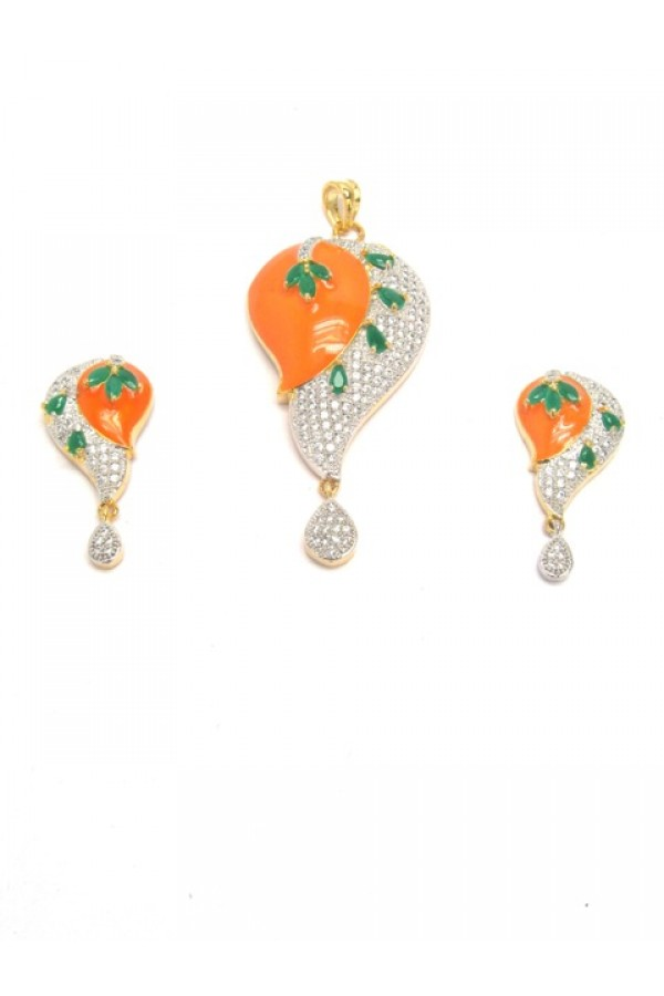 Designer Diamond Pendant With Earrings - 87674