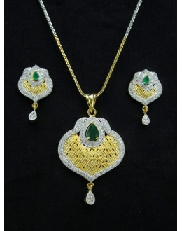 Designer Diamond Pendant With Earrings - 88456