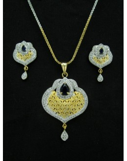 Designer Diamond Pendant With Earrings - 88457