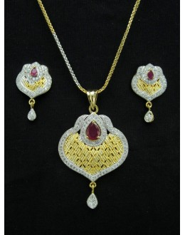 Designer Diamond Pendant With Earrings - 88459