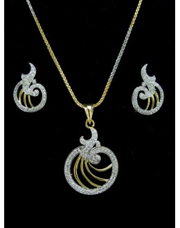 Designer Diamond Pendant With Earrings - 88461