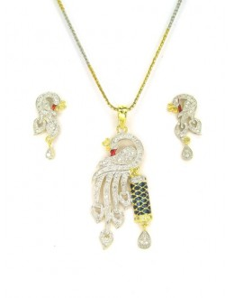 Designer Diamond Pendant With Earrings - 89201