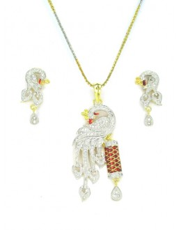 Designer Diamond Pendant With Earrings - 89202