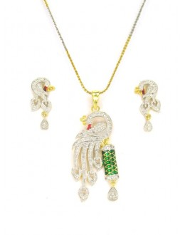 Designer Diamond Pendant With Earrings - 89203
