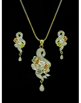 Designer Diamond Pendant With Earrings - 89212