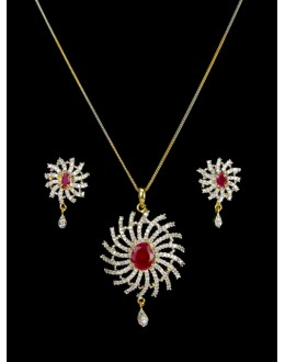 Designer Diamond Pendant With Earrings - 89599