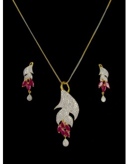 Designer Diamond Pendant With Earrings - 89629