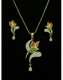 Designer Diamond Pendant With Earrings - 89891
