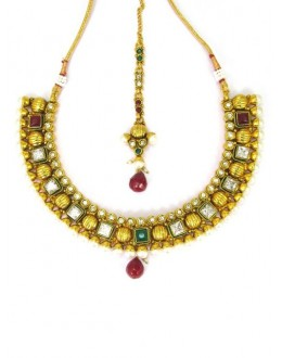 Designer Polki Necklace Set - 86010