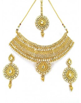 Bridal Wear Polki Necklace Set - 87725