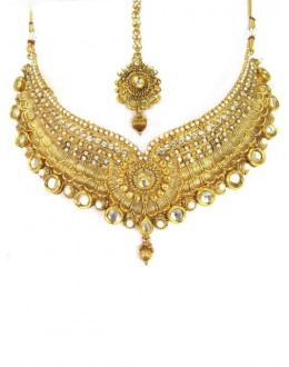 Bridal Wear Polki Necklace Set - 87727