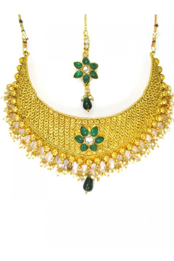 Bridal Wear Polki Necklace Set - 89408