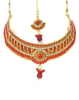 Bridal Wear Polki Necklace Set - 89410