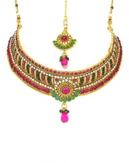Bridal Wear Polki Necklace Set - 89411