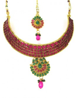 Designer Polki Necklace Set - 89413