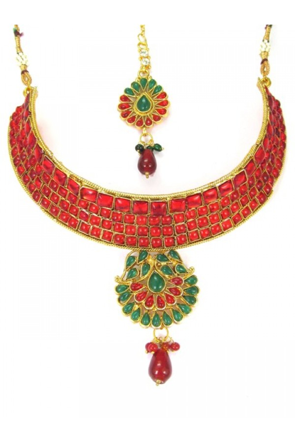 Designer Polki Necklace Set - 89414