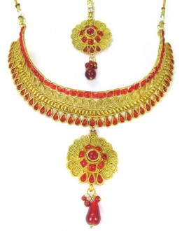 Bridal Wear Polki Necklace Set - 89416