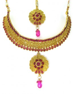 Bridal Wear Polki Necklace Set - 89417