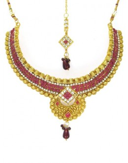 Bridal Wear Polki Necklace Set - 89420