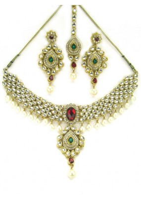 Bridal Wear Polki Necklace Set - 89716
