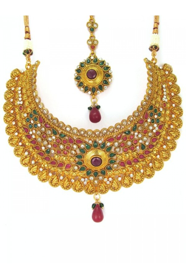 Bridal Wear Polki Necklace Set - 85144
