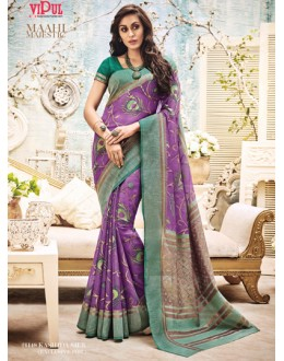 Ethnic Wear Purple & Green Saree  - 21148