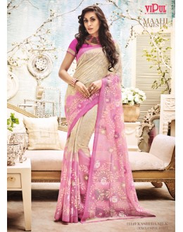 Festival Wear Cream & Pink Saree  - 21149