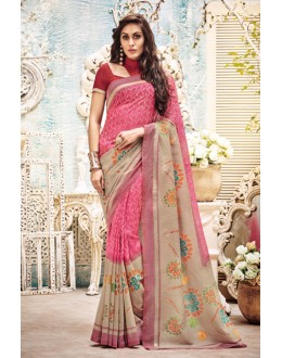 Ethnic Wear Pink Bhagalpuri Saree  - 21150