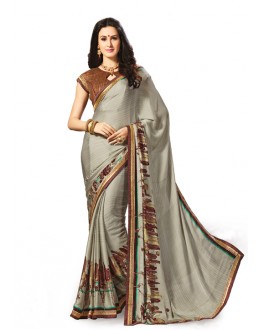Crepe Chiffon Grey Beautiful Saree - 5024