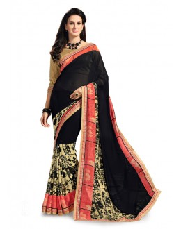 Casual Wear Black Georgette Saree - 5025