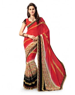 Ethnic Wear Red Georgette Saree - 5030