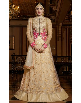 Bridal Wear Beige Embroidery Lehenga Choli - 11111