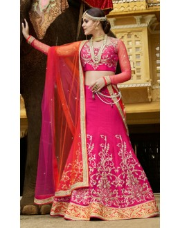 Wedding Wear Pink & Orange Banarasi Silk Lehenga Choli - 11113