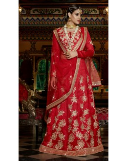 Ethnic Wear Red Australian Silk Lehenga Choli - 11115