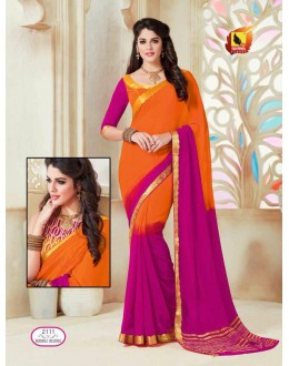 Ethnic Wear Orange & Pink Chiffon Saree  - ASHIKA2111