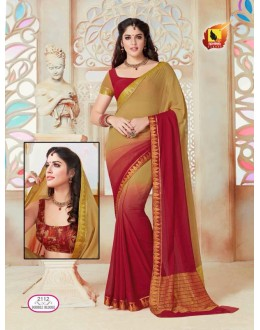 Party Wear Beige & Maroon Chiffon Saree  - ASHIKA2112