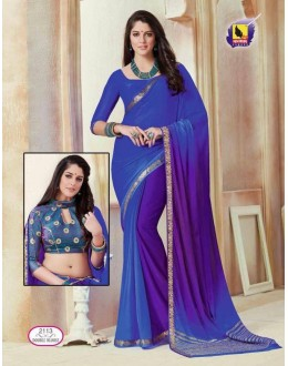 Blue Colour Shine Chiffon Saree  - ASHIKA2113