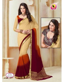 Festival Wear Cream Shine Chiffon Saree  - ASHIKA2116